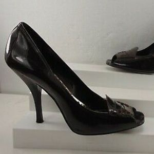 NWOB BCBGirls Black Patent Leather Peep Toe Pump